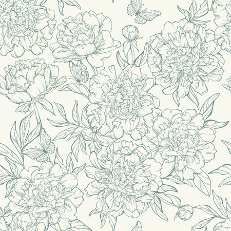 botanical illustration: Vintage floral seamless pattern with hand-drawn peony flowers with butterfly.