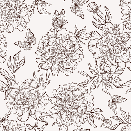 botanical illustration: Vintage floral seamless pattern with hand-drawn peony flowers with butterfly. Element for design. Hand-drawn contour lines and strokes.