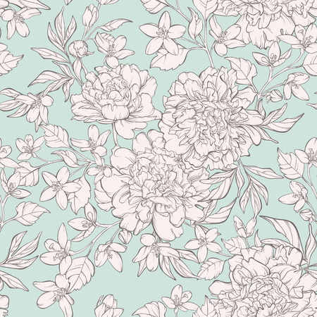 Vintage seamless pattern with blossoming peony flowers on white with wildflowers. Vector illustration. Pastel colours.