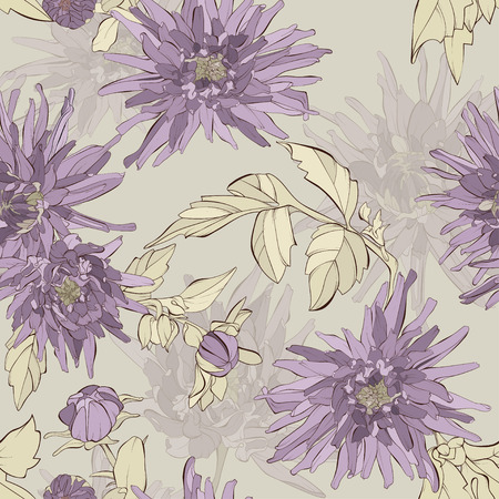 Dahlia flowers seamless pattern. Autumn floral texture. Hand drawn botanical vector illustration. 向量圖像
