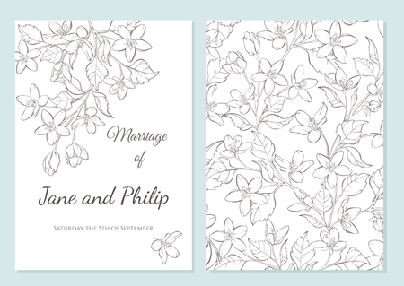 Wedding invitation card template design. Cherry blossom vector flowers on white. Vintage card. Hand-drawn contour lines and strokes. Seamless pattern included.
