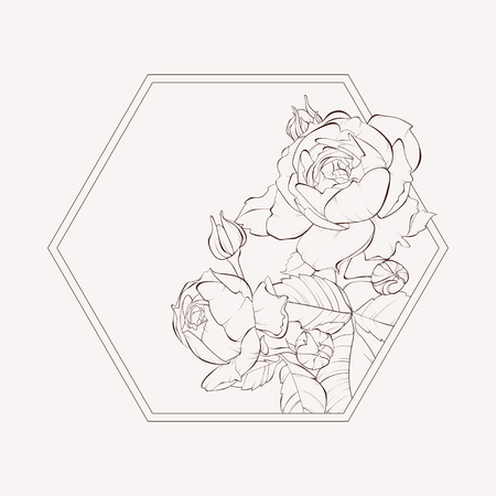 Blossoming rose flowers at hexagon geometric shape. Vector illustration. Perfect for background greeting cards and invitations of the wedding, birthday, Valentine's Day, Mother's Day.