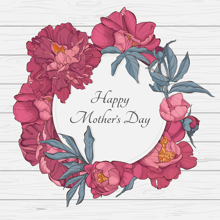 International Womens Day with peony flowers on wooden table. Vector templates. Design for card, poster, flyer for Mothers Day. Ilustração