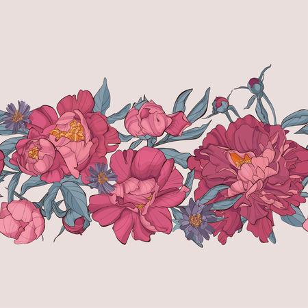 Vector seamless horizontal seamless border with peony flowers . Peonies flowers pattern.