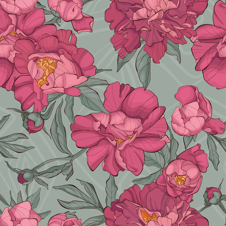 Seamless pattern peony flower on grey background with rhombus. Fashion vector illustration. Vectores