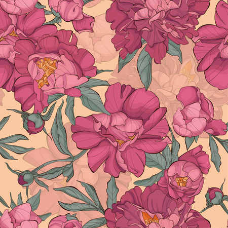 Seamless pattern peony flowers on yellow background. Element for design. Hand-drawn contour lines and strokes. Fashion vector illustration.