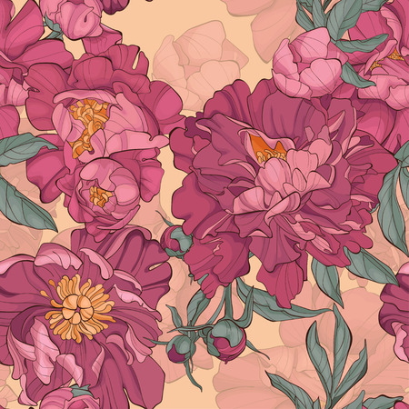 Seamless pattern peony flower on yellow background. Element for design. Hand-drawn contour lines and strokes. Vector illustration with peonies.