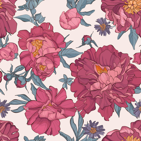Seamless pattern peony flower on white background. Element for design. Hand-drawn contour lines and strokes. Fashion vector illustration with peonies.
