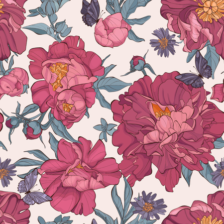 Seamless pattern peony flower on white background with butterfly. Element for design. Hand-drawn contour lines and strokes. Fashion vector illustration.
