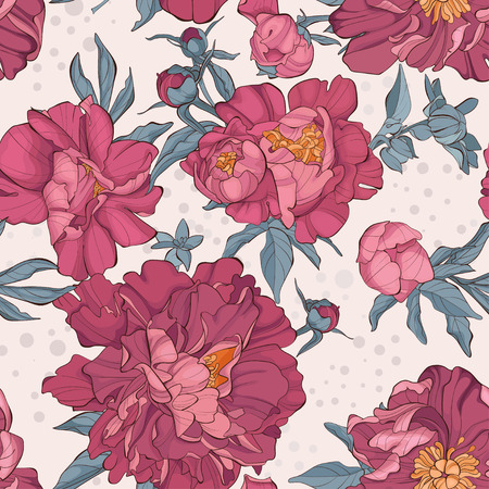 Seamless pattern peony flower on white background. Element for design. Hand-drawn contour lines and strokes. Cute vector illustration.