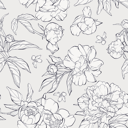 Seamless pattern, background with blooming peony flowers. Outline drawing.
