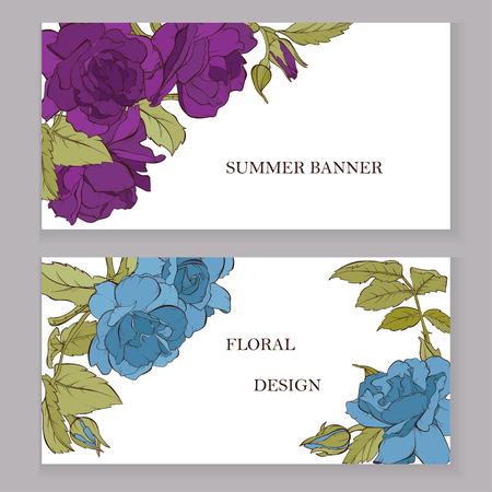 Vector rose flowers on the card. Wedding background card. invitation elegant card illustration graphic set banner. Engraved ink art. Ilustração