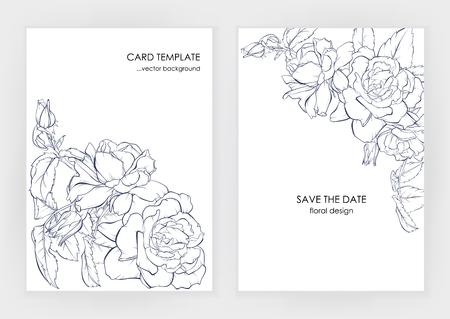 Minimalist wedding invitation card template design, floral dark blue line art ink drawing with square frame with beautiful rose. Ilustração