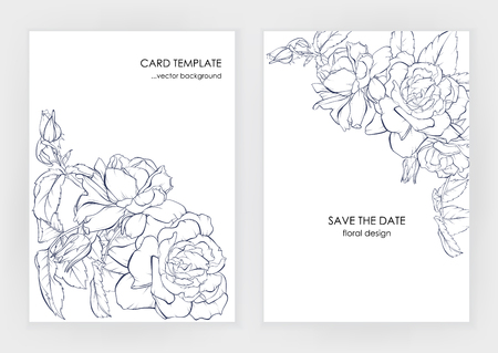 Minimalist wedding invitation card template design, floral dark blue line art ink drawing with square frame with beautiful rose. Illustration