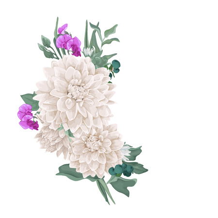 Vector floral bouquet design: chrysantemum, dahlia, greenery, leaves, flower, berry. Wedding vector invitation card. Perfect for background greeting cards of the birthday, Valentine's, Mother's Day.