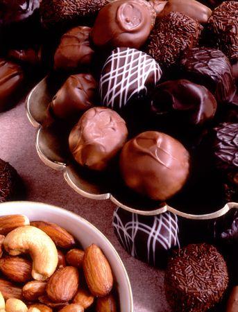 화려한 초콜렛과 혼합 견과류 스톡 콘텐츠