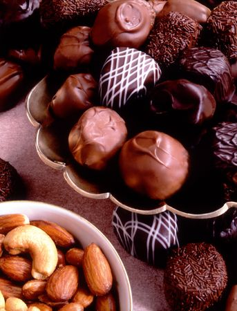 mixed nuts: Fancy chocolates and mixed nuts