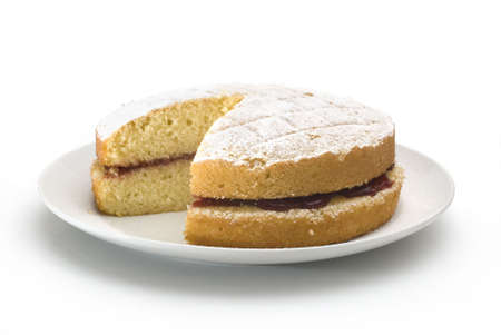 jam sandwich: Victoria sponge cake isolated on white background Stock Photo