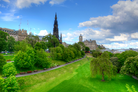 princes street: Princes Street Gardens in Edinburgh, Scotland. Stock Photo