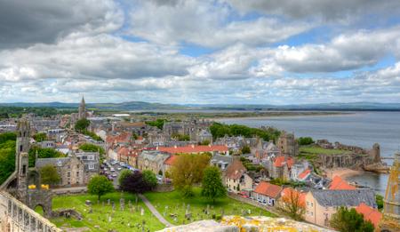 セント アンドリュース、スコットランドの空撮。