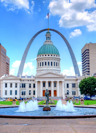 Keiner Plaza and the Gateway Arch in St. Louis, Missouri Editorial