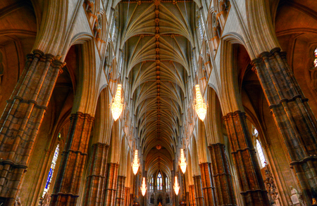 Westminster Abbey in London, UK 에디토리얼