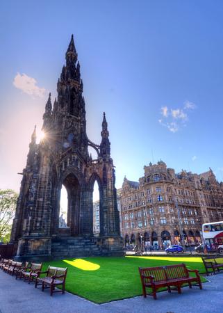 에딘버러, 스코틀랜드에서 스콧 기념물입니다. 스톡 콘텐츠
