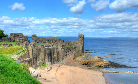 Ruins of St. Andrews Castle in St. Andrews, Scotland.