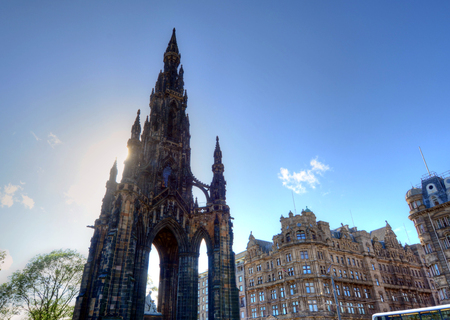 princes street: Scott Monument in Edinburgh, Scotland. Stock Photo