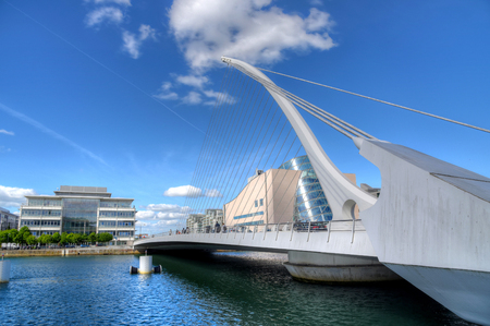 DUBLIN, IRELAND - MAY 30, 2017: The Samuel Beckett Bridge over the river Liffey. 新闻类图片