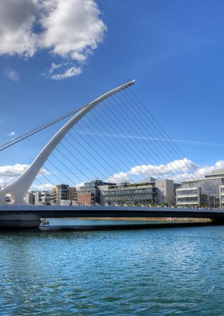 DUBLIN, IRELAND - MAY 30, 2017: The Samuel Beckett Bridge over the river Liffey. Editorial