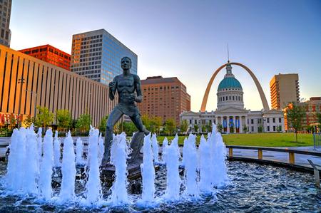 July 7, 2017 - St. Louis, Missouri - Keiner Plaza and the Gateway Arch in St. Louis, Missouri. Editorial