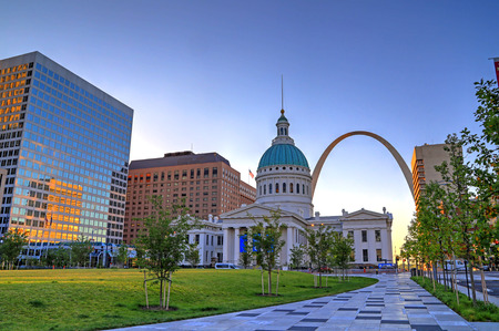 July 7, 2017 - St. Louis, Missouri - Keiner Plaza and the Gateway Arch in St. Louis, Missouri. Editorial