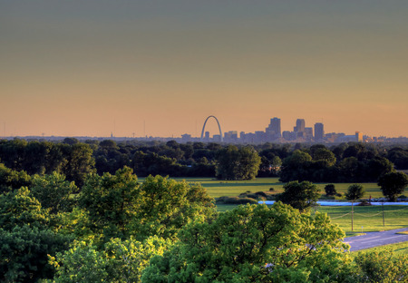 The Gateway Arch and St. Louis, Missouri Skyline from Cahokia Mounds.