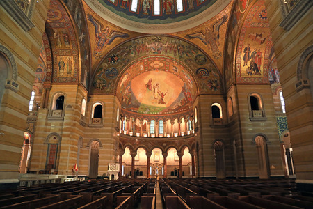 St. Louis, Missouri, USA - August 18, 2017: Sanctuary of the Cathedral Basilica of Saint Louis on Lindell Boulevard in St. Louis, Missouri.