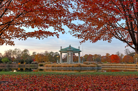 missouri: Fall foliage around the Forest Park bandstand in St. Louis, Missouri. Stock Photo