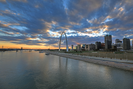 St. Louis, Missouri Skyline and the Gateway Arch from Eads Bridge. Stock Photo