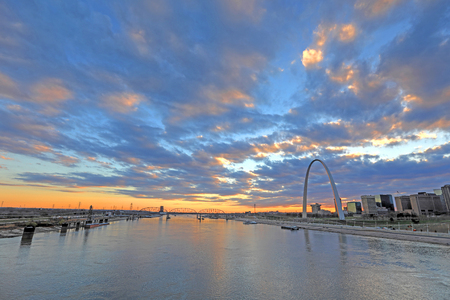 St. Louis, Missouri and the Gateway Arch from Eads Bridge. Stock Photo