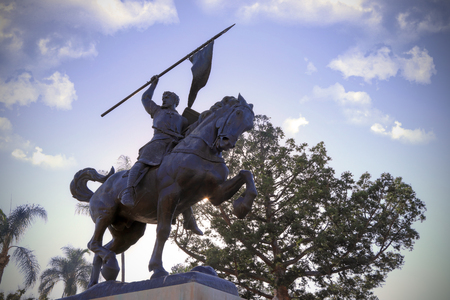 San Diego, California, USA - February 5, 2018: El Cid Campeador, bronze statue created in 1927 by sculptor Anna Hyatt Huntington and architect William Templeton Johnson, and located in Balboa Park, San Diego, California. Editorial