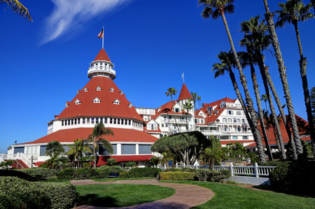 Coronado, San Diego, California, USA - February 4, 2018 - Hotel del Coronado on Coronado Island. Hotel del Coronado is a beachfront historic hotel that was opened in 1888 and is a National Historic Landmark.