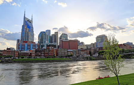 Nashville, Tennessee, USA - April 27, 2018: Downtown Nashville, Tennessee, The Music City, seen at dusk from The Cumberland River. Editorial