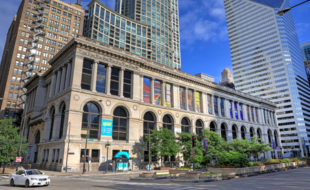 Chicago, Illinois, USA - June 22, 2018 - The exterior of the Chicago Cultural Center located at the old Public Library of the City of Chicago building.