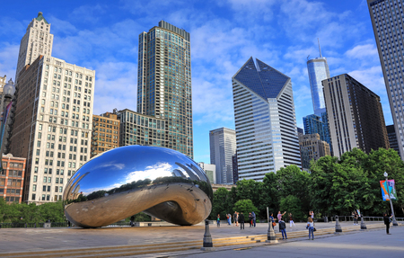 Chicago, Illinois, USA - June 23, 2018: The Cloud Gate also known as The Bean in Millennium Park in Downtown Chicago.