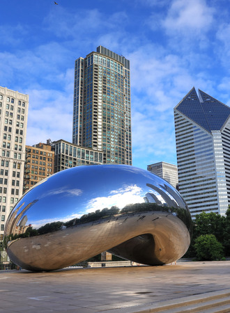 Chicago, Illinois, USA - June 23, 2018: The 'Cloud Gate' also known as 'The Bean' in Millennium Park in Downtown Chicago. Editorial