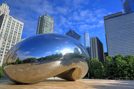 Chicago, Illinois, USA - June 23, 2018: The 'Cloud Gate' also known as 'The Bean' in Millennium Park in Downtown Chicago.