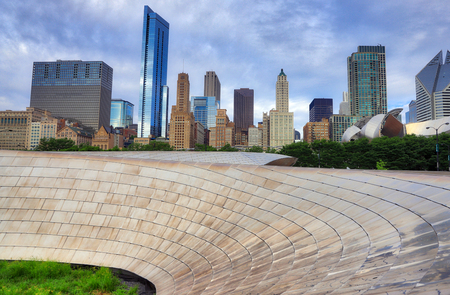 The Chicago, Illinois skyline from a bridge in Millennium Park. Stock Photo