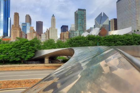 The Chicago, Illinois skyline from a bridge in Millennium Park. Stock Photo