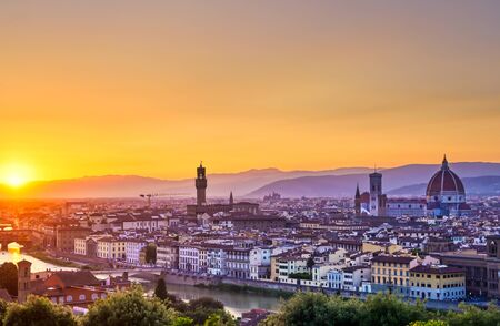 The sunset over Florence, capital of Italy's Tuscany region.