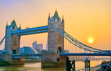 Tower Bridge across the River Thames in London, UK.
