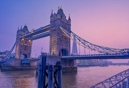 Tower Bridge across the River Thames in London, UK.
